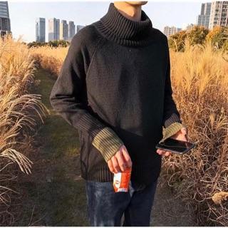 [CÓ SẴN – ẢNH THẬT] Áo len cổ lọ dài tay đen nam nữ dáng rộng phong cách ulzzang Hàn Quốc