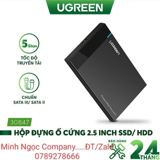 Hộp đựng ổ cứng 2.5 inch SSD, HDD hỗ trợ 6TB, chuẩn SATA, UGREEN US221 30847, vỏ nhựa ABS - Hàng Chính Hãng thumbnail