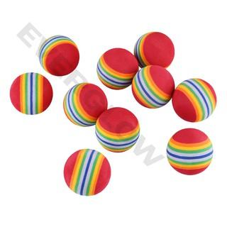 10Pcs Rainbow Stripe EVA Foam Sponge Golf Ball Swing Practice Training Aid