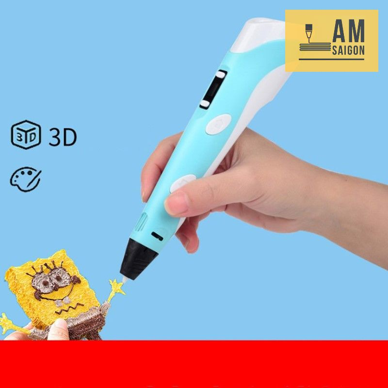 Bộ Bút Vẽ 3D sáng tạo 3DPEN-v2 loại tốt trọn bộ kèm sẵn dây màu và nguồn, bảo hành 1 tuần
