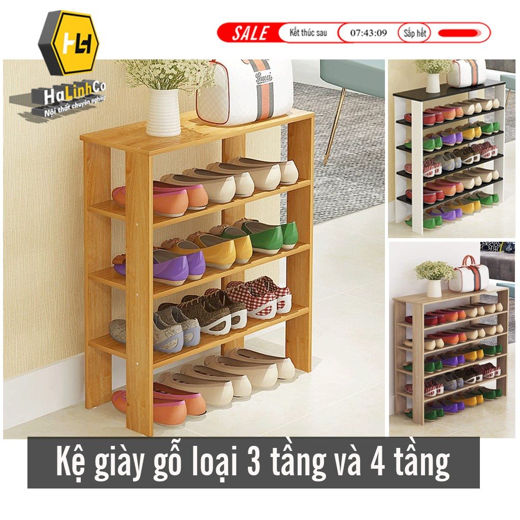 Kệ giày gỗ lắp ghép 3 tầng và 4 tầng giá rẻ (bảo hành 12 tháng) giá rẻ