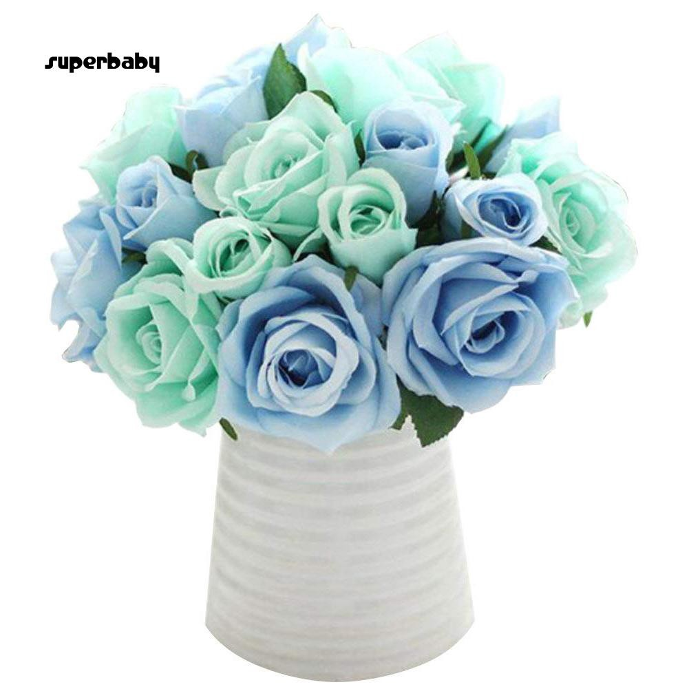 SBaby-1 Bouquet 9 Head Artificial Silk Rose Fake Flowers Wedding Party Home Decoration