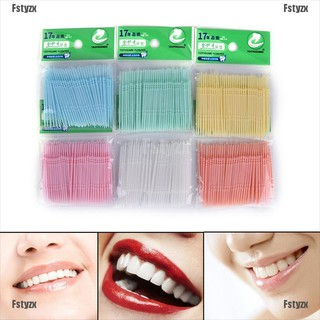 Set 100 dựng cụ nhựa vệ sinh răng miệng hai đầu tăm và chỉ nha khoa tiện dụng thumbnail