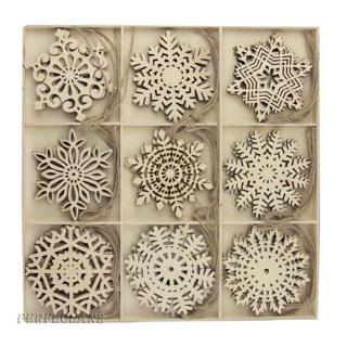27x Wooden Christmas Snowflakes Ornaments Set for Craft DIY Party Home Decor