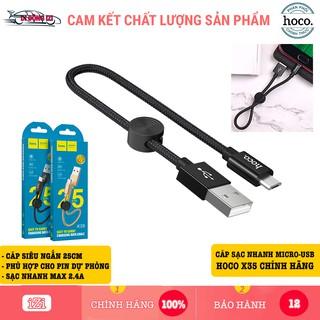 Cáp Sạc Nhanh Micro-USB Hoco X35 Ngắn 25CM – Cho Android, Samsung, Xiaomi, Oppo,… [CHÍNH HÃNG]