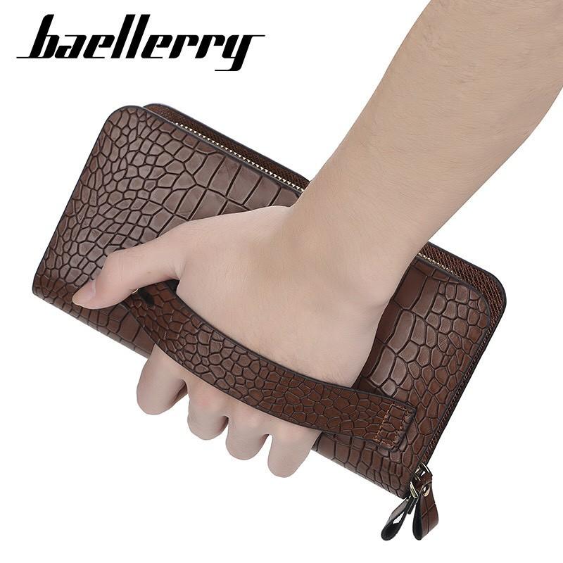Ví cầm tay nam Baellerry full box VID01 vân da cá sấu đẳng cấp doanh nhân có 2 đô la may mắn lót ví