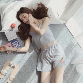(Nhập mã TRAN10K để giảm 10k) Bộ ngủ lụa 2 dây thêu hoa( Hàng có sẵn)