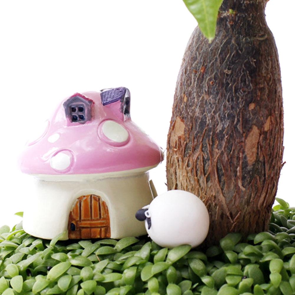 Mushroom house resin figurine craft plant pot fairy garden decor ornament
