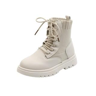 Giày Bốt Martin Trắng Đen Thời Trang Xuân Thu 2020 Cho Bé Gái Size 26-37 thumbnail