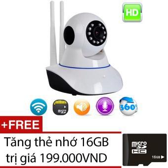Camera IP Wifi Giám Sát Báo Động 2 Ăng-Ten Kèm Thẻ Nhớ 16GB