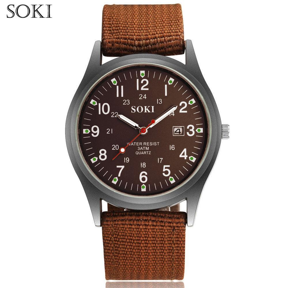Đồng hồ thời trang nam dây vải bố quân đội SOKI S002 (nhiều màu)