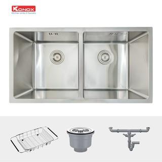 Chậu rửa bát inox KONOX Undermount Series KN7544DUB, inox 304AISI, full set gồm Siphon+Giá úp bát inox