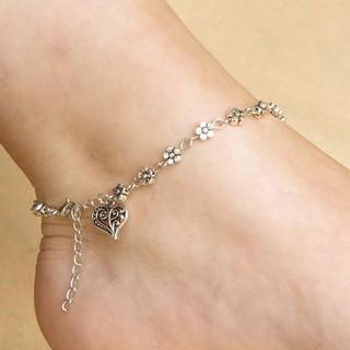 Tây Tạng bạc rỗng Plum Flowers tim vòng chân chân chuỗi thumbnail