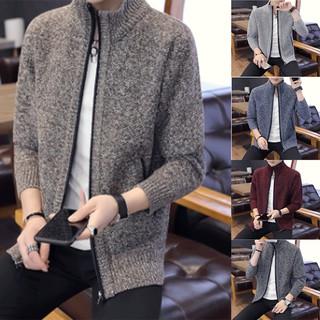 Áo Khoác Sweater Dệt Kim Cổ Đứng Màu Trơn Xinh Xắn Cho Sinh Viên