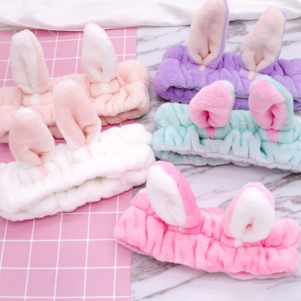 Băng đô tai thỏ nhung 3D mềm mịn