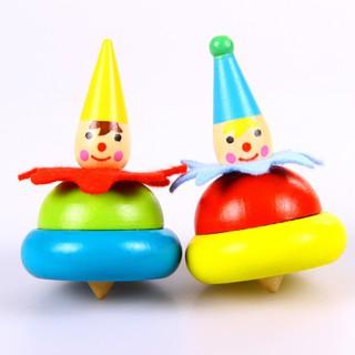 Bộ Chú hề bằng gỗ con quay đố trẻ em truyền thống giải trí, nhận thức cho bé trai, bé gái, đồ chơi thông minh, trơn mịn.