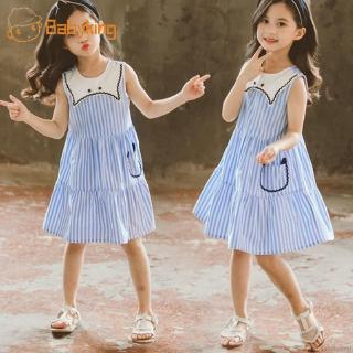 BABYKING Kids Girls Sleeveless Summer Striped Pattern Fashion Princess Dresses Cute Sundress
