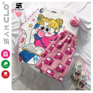 Quần đùi nữ - quần short SAM CLO thun dáng rộng mùa hè, mặc ngủ, mặc ở nhà, hoạt tiết hoạt hình máy chơi game BMO thumbnail