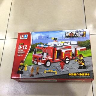 [có sẵn ] Lego cứu hỏa – đồ chơi xếp hình lắp ráp xe cứu hỏa 394 miếng ghép