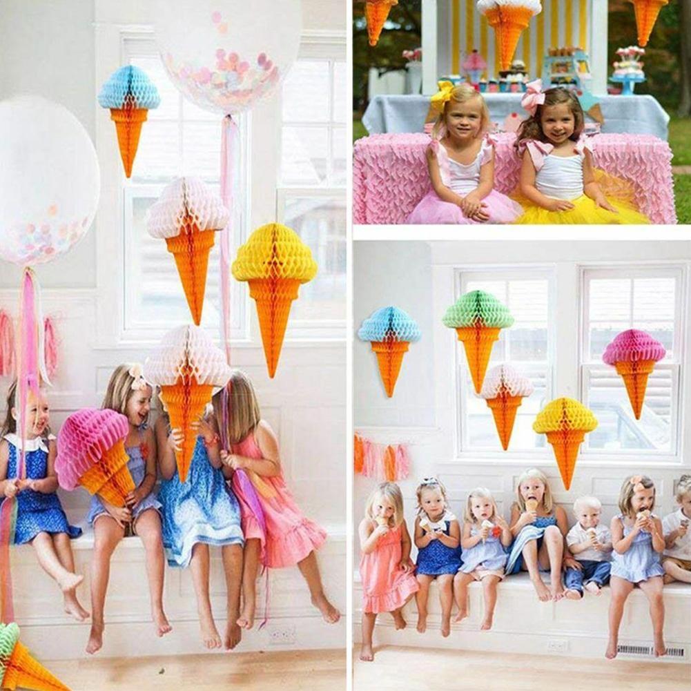 Birthday Ice Cream Handmade Decoration Festival Reusable Background Party Honeycomb Ball
