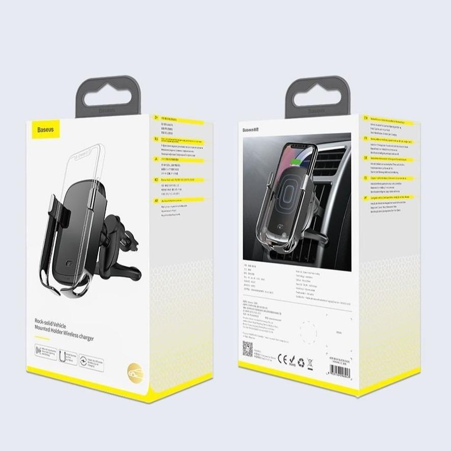 Bộ đế giữ điện thoại tích hợp sạc nhanh không dây Baseus Rock-solid Electric Holder 10W Wireless Charger