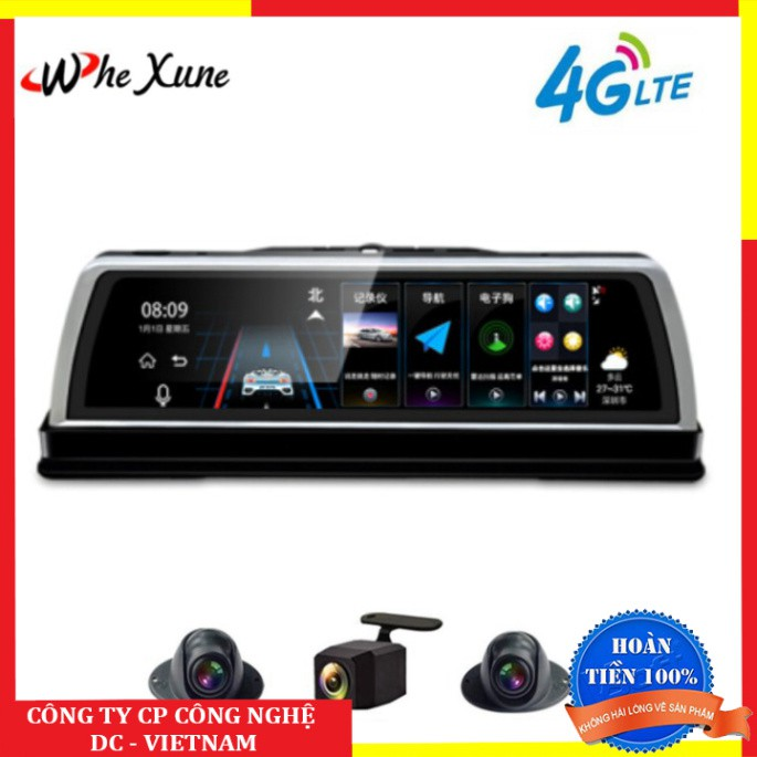 Camera hành trình đặt taplo ô tô cao cấp WHEXUNE K600 tích hợp 4 camera, hệ điều hành Android 5.1 Wifi, định vị GPS