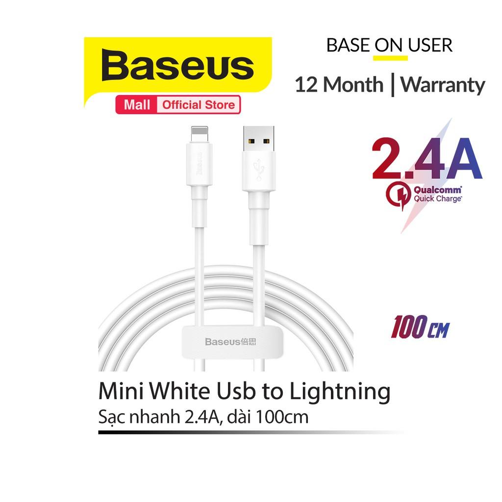 Cáp Baseus sạc nhanh và truyền dữ liệu Mini White lightning/micro/type-c (2.4A/3A )