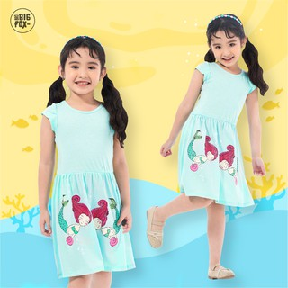 Đầm Cho Bé Gái Miss Meow Tới Size Đại . Váy Cotton Thun Trẻ Em In Nàng Tiên Cá