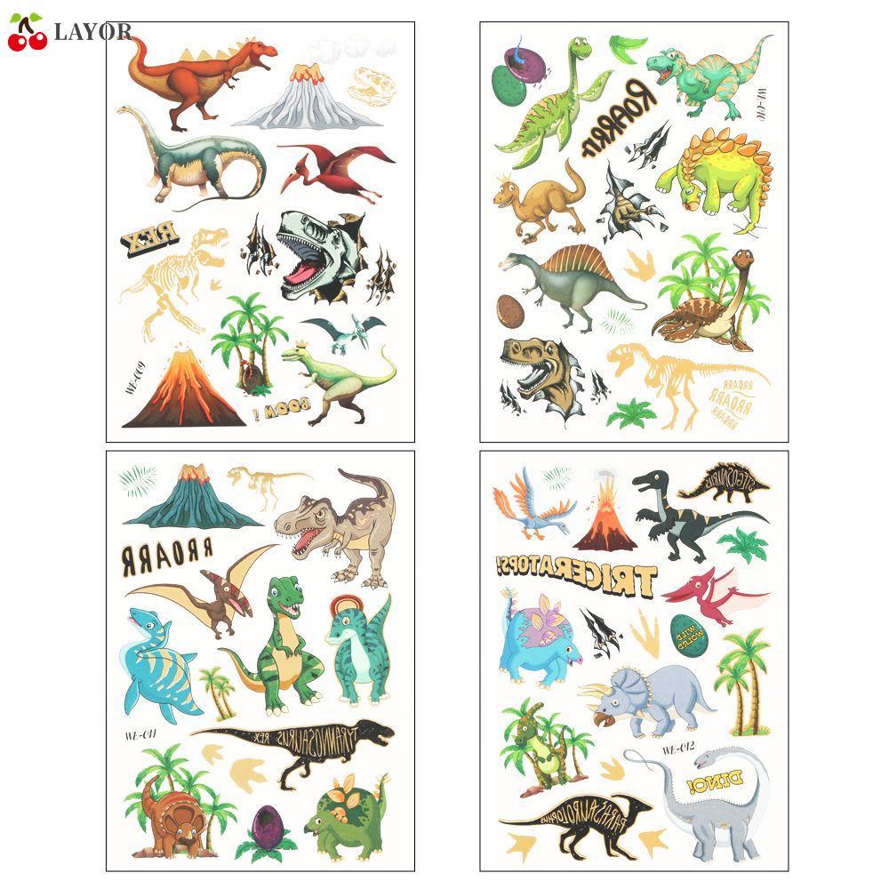 💜Layor💜 Hình xăm dán hình khủng long cho trẻ em