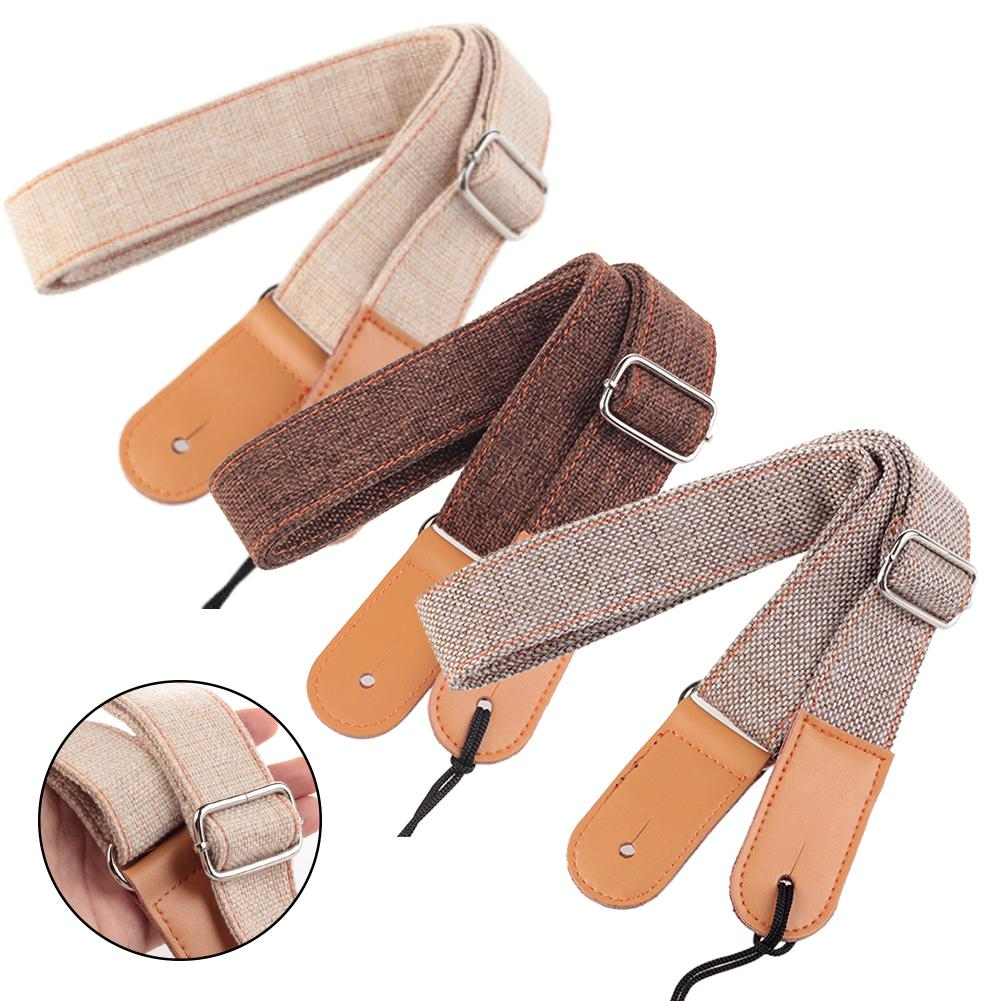 Shoulder Durable Solid Anti Pull Breathable Soft Cotton And Linen Adjustable Ukulele Strap