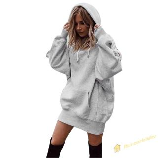 RH Women Long-Sleeves Thicken Solid Color Hooded Sweatershirt Pockets Hoodie