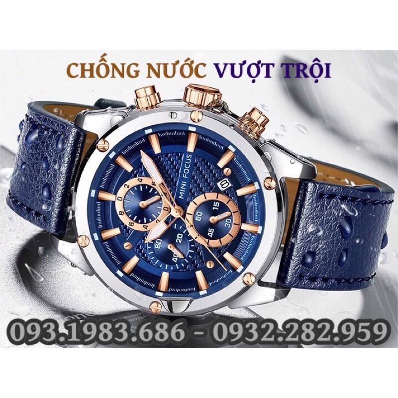Đồng Hồ Nam MINI FOCUS MF0161G.03 Dây Da Nâu Mặt Nâu Chống Nước 6 Kim Đẹp Cao Cấp - TIGO