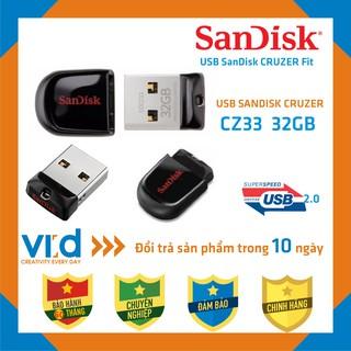 [Mã ELFLASH5 giảm 20K đơn 50K] [CHÍNH HÃNG]USB SanDisk CZ33 Cruzer Fit 32GB - USB 2.0 - Bảo hành 60 tháng