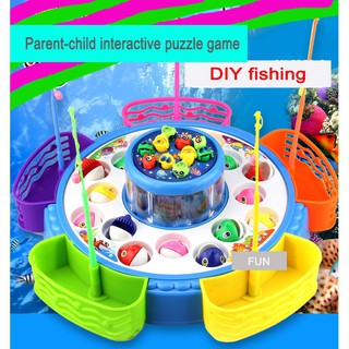 Children's electric magnetic fishing double electric fishing toys
