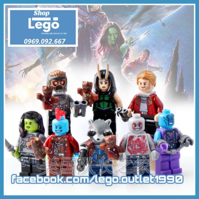 Xếp hình The Guardian of Galaxy Rocket – Star-Lord – Nebula – Gamora – Mantis – Drax Yondu Lego Minifigures Pogo PG8044