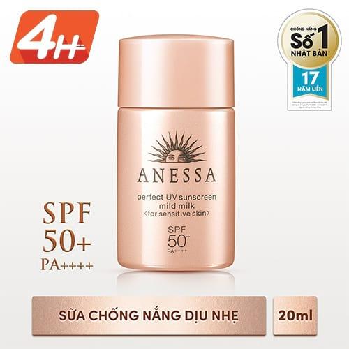 [HCM] Sữa chống nắng dịu nhẹ cho da nhạy cảm Anessa Perfect UV Sunscreen 20ml _ 4901872083367
