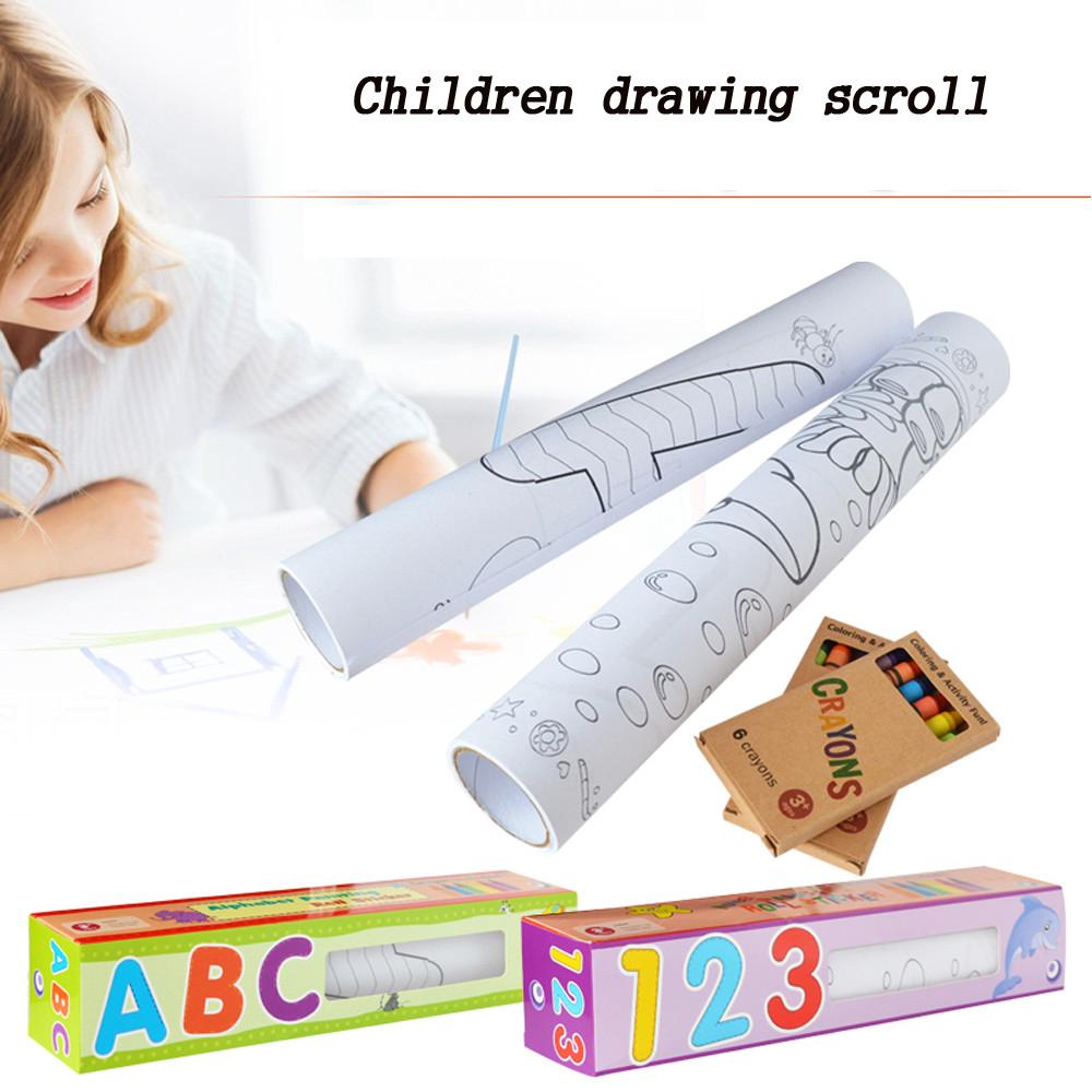 【COD】Drawing Scroll Paper Wallpaper Preschool Graffiti DIY Drawing Set