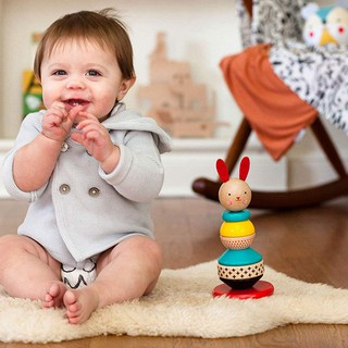 Baby Rabbit Wood Stacking Toy,Colorful Tumbler Stacked Toys