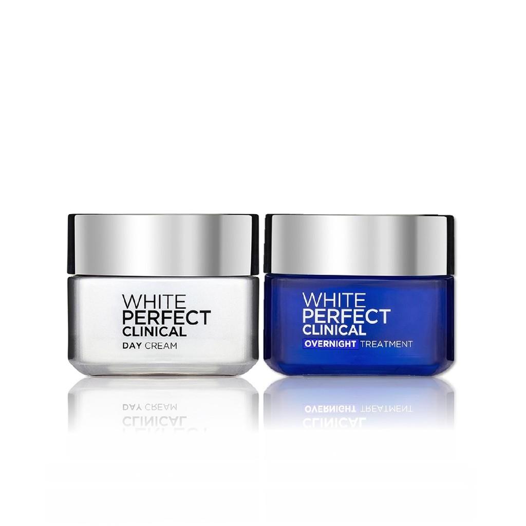 Bộ đôi kem dưỡng làm sáng da giảm thâm nám ngày và đêm L'Oreal Paris White Perfect Clinical 50mlx2