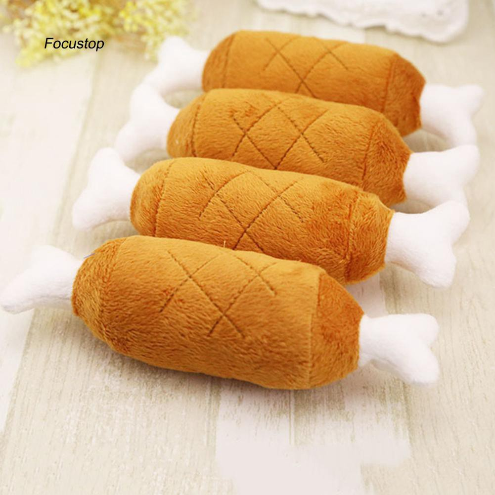 FCSP♣Squeaky Drumstick Bone Funny Kids Baby Soft Plush Toy X-mas Gift Decoration