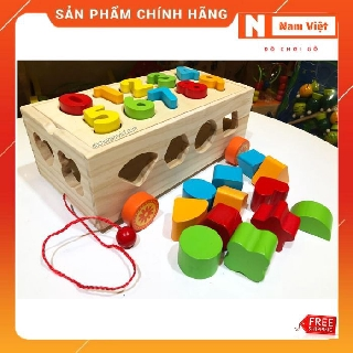 Đồ chơi xe kéo thả hình khối và số cho bé vui học bằng gỗ