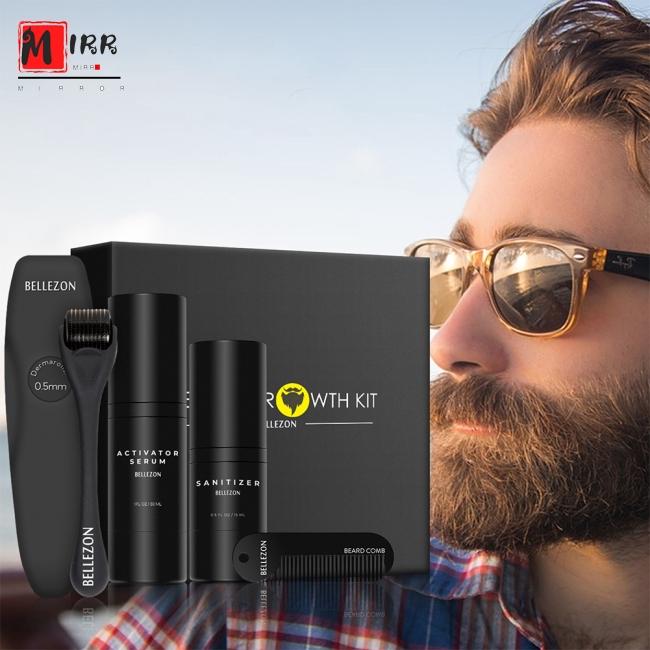 4 Pcs/set Men Beard Growth Kit Face Hair Growth Enhancer Thicker Essence