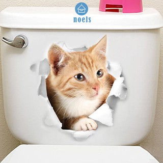 Ready XH2006 Cat Vivid 3D Smashed Switch Wall Sticker Bathroom Kicthen Decorative ♥noel✧Home living