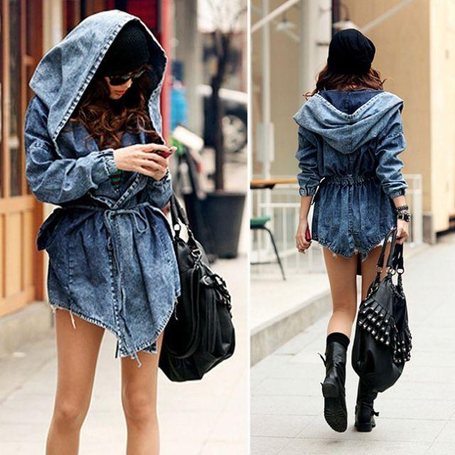 Jean Jacket Denim Oversized Hood เสื้อคลุมแจ็คเก็ตฮู้ดยีนส์ฟอก