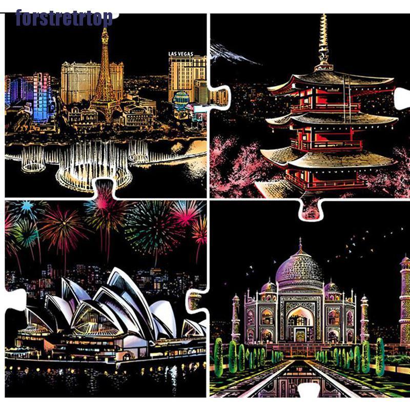 【FSTTTOP】40*28cm Magic Art Crafts World Landscape Scraping Paintings Paper Adu