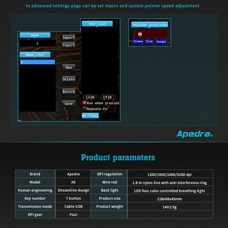 Apedra A5 Chuột chơi game có dây Bốn màu Hơi thở Trò chơi Macro Chuột tùy chỉnh Chuột máy tính