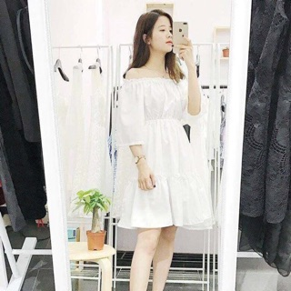 Váy trễ vai trắng – kèm ảnh thật shop chụp