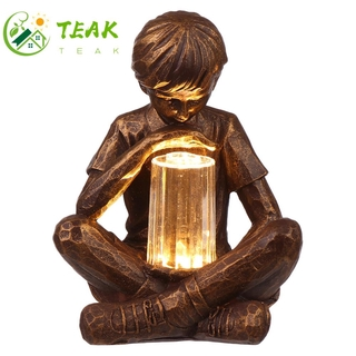 TEAK Gifts Boy with Fireflies Festival Decoration Sculpture with Light Resin Garden Boy LED Light Vintage Artistic Statue Holiday Ornament Garden Lights Statue Glimpses of God