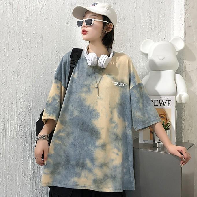 [Mã FASHIONCB94 hoàn tối đa 30K xu đơn 50K] Áo ngắn tay màu nhuộm loang thời trang Hàn Quốc