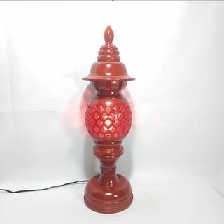 Bộ đôi đèn thờ gỗ hương nguyên khối Phong Thủy 36cm, 48cm – Tặng kèm bóng đèn